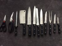 Set of 12 German made chefs tools in case - as new
