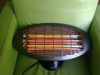 Wall mounted quartz bulb patio heater with three settings