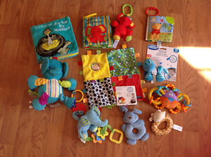 Lot of soft toys & books, 0-24 m, taggies, rattles more