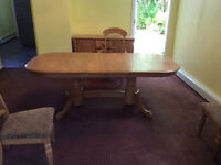 Washed Oak Dining Table, 5 Chairs, Buffet