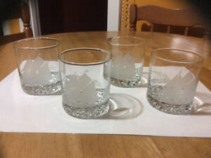 "3 1/2"" etched ""Bluenose II "" glasses"