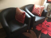 "Two seat leather sofa+ two chairs+ 46"" Sony flat screen"