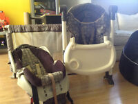 High chair, baby car seat with base