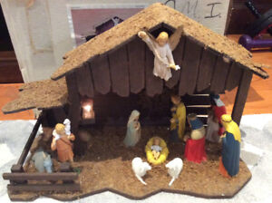 Vintage Christmas Nativity Scene Crèche with light and music box