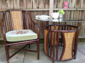 Vintage cane bamboo table and 4 chairs