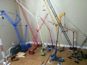 Diecast model cranes and trucks