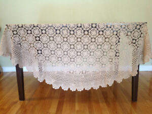 Vintage, hand crochet tablecloth