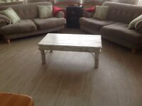 Lovely solid teak coffee table pained and waxed in Annie sloan