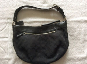 Coach pleated signature Jacquard black hobo bag