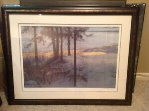 Robert Bateman Framed - Edge Of Night Timber Wolves
