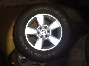 """18"""" tires and alloys sale275/65/18"""" Goodyear Wrangler M/S $1200."""