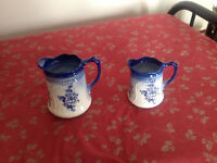 Antique china blue and white pitchers