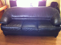 Black Leather Sofa/Couch