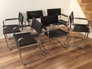 6 x Vintage Mart Stam Chromed Chairs-Chaises Vintage en Chrome
