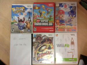 5 NINTENDO Wii Games  including manual, no scraches - each $10