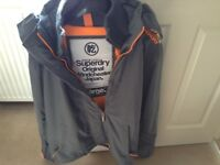 Superdry Men's Windcheater Size Large Hooded Grey & Orange Jacket