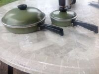 Vintage club skillet/frying pans with lids