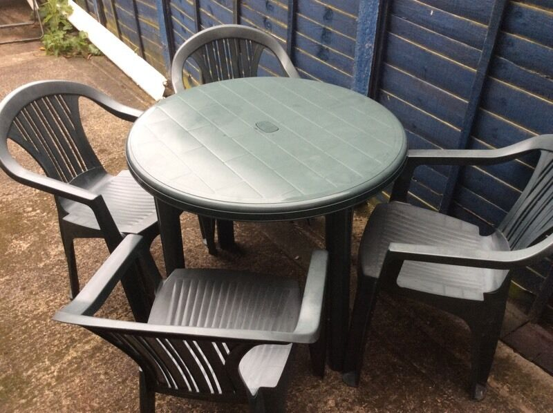 Outdoor table with four chairsin Leicester, LeicestershireGumtree - Outdoor furniture in very good condition. Personal pick up only!Any questions, please ask )