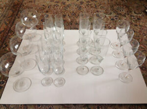 Set of wine glasses and champagne glasses