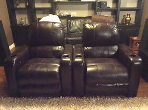 Two Leather Berkline 090 Theatre Chairs with Buttkickers Windsor Region Ontario image 3