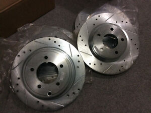 Slotted/drilled disc rotor (front & rear)