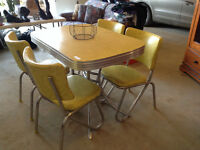 SOLID CHROME 1950's TABLE AND CHAIRS