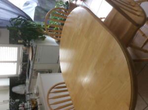 Solid wood kitchen table plus chairs