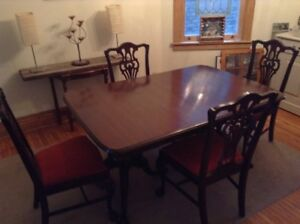 Mahogany table and 6 chairs - Andrew Malcolm Furniture Company