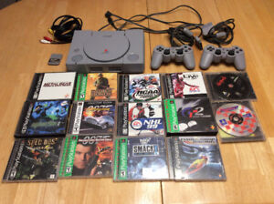 PlayStation 1  console with controllers , games, memory card PS1