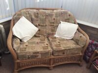 3 Piece Rattan Conservatory Furniture and Coffee Table Suite