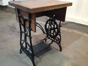 Antique rustic sewing table with brand new table top