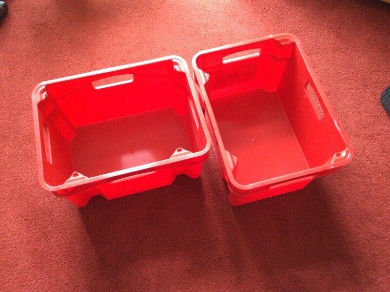 6 x Plastic storage boxes