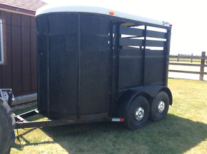 Two horse stock trailer for rent .