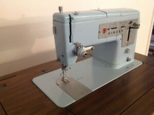 Rare combo - blue Singer sewing machine with original table