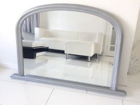 Large Silver Framed Mirror (Mantelpiece, Hall etc)