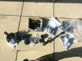 Various pond accessories and a pond fountai