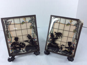 1920's Silhouette Art Picture Frames on Convex Glass