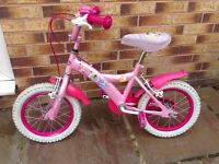 """Disney Princess Girls Bike 14"""" inch wheels, comes with deluxe saddle and stabilsers"""
