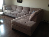 Beige micro suede sectional sofa