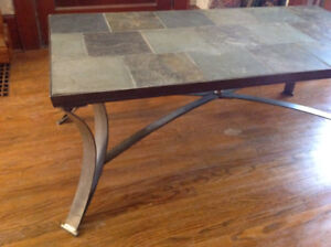 "elegant slate tile coffee table 48"" l x 24"" w x 20"" h"