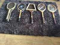 Wooden tennis rackets x 5