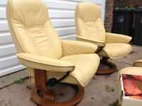 Stunning pair Ekornes Stressless Senator recliner chairs with stools and tables