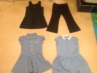 School bundle. Dresses age 3. Pinafore and trousers aged 4