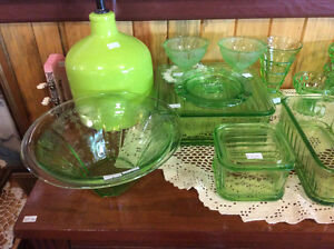 Assorted Green Depression Glass Items