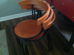 Three 3 dinning chairs, stackable
