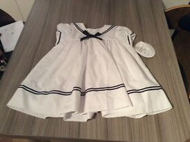 BNWT Sarah Louise white and navy nautical style dress - Christening 6 months