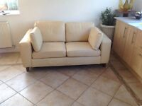 Cream Real Leather 2 seat Sofa by Sofa Works