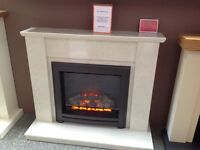 "Electric Suite in Coral Cream with 22"" Electric Fire"