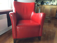 Red leather easy chair