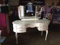 French Louie style dressing table 3 mirror with glass top